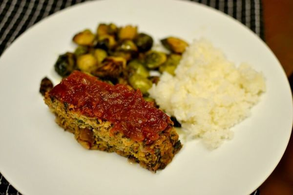 turkey meatloaf, rice and brussels sprouts