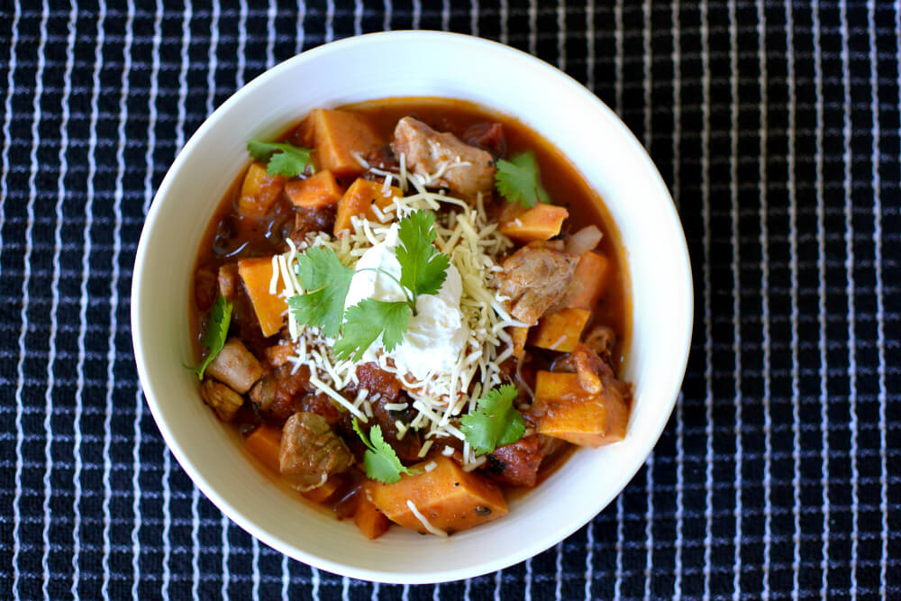 Simple Chicken, Sweet Potato and Black Bean Chili Recipe