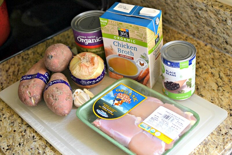 Chicken, sweet potato and black bean chili ingredients