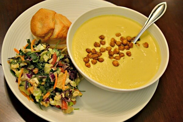 pinch of yum golden soup and chopped salad