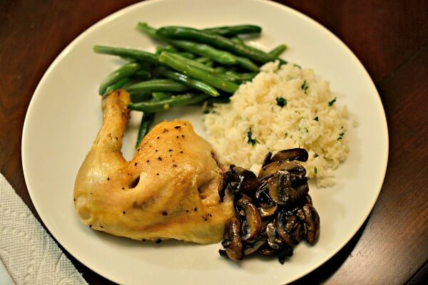 rotisserie chicken with rice, mushrooms and green beans