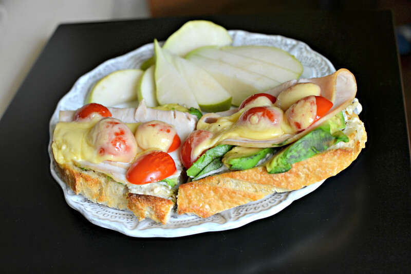 open faced turkey and avocado sandwich