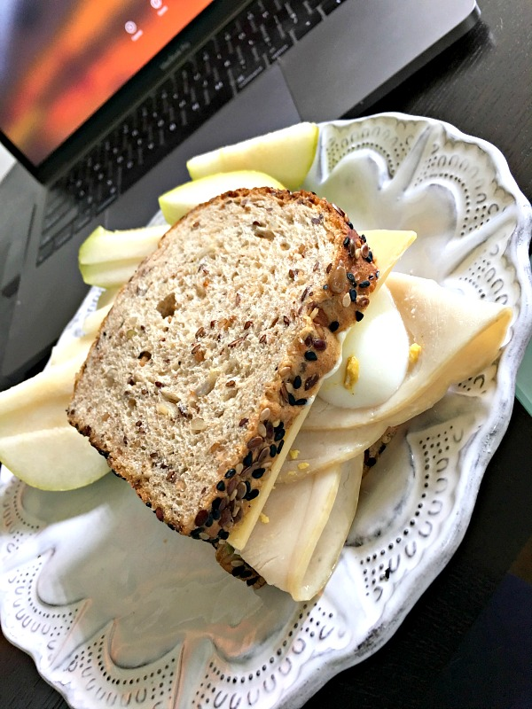 turkey and hardboiled egg sandwich