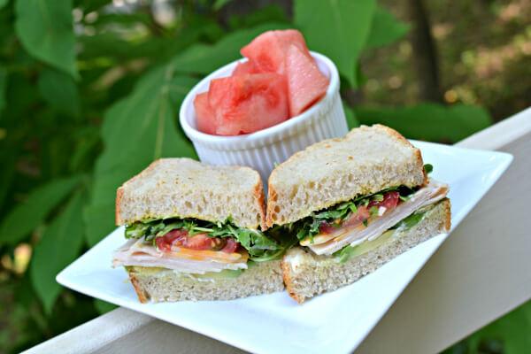 turkey sandwich on homemade sourdough bread