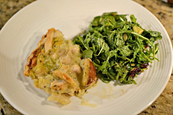 chicken pie and salad