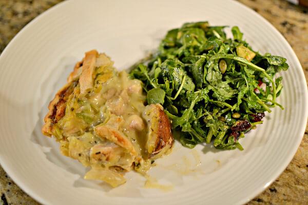 chicken pie and salad