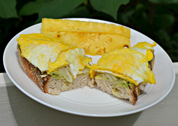 scrambled egg, avocado and sauerkraut toast
