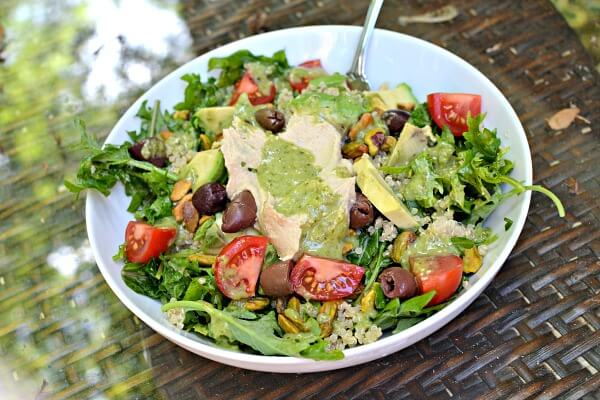 salad with quinoa and hummus