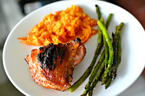 grilled chicken thighs with baked sweet potato and asparagus