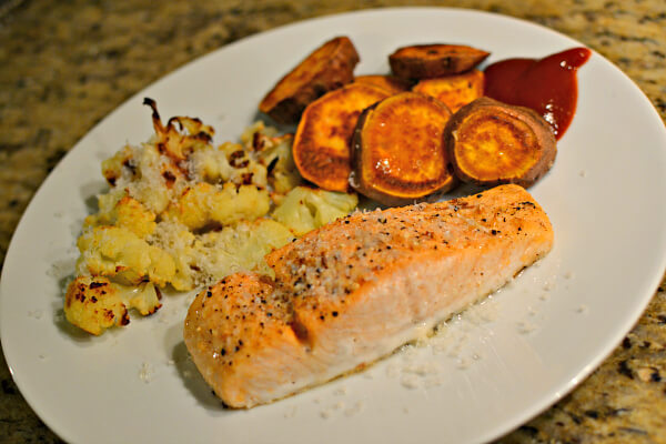 salmon with roasted cauliflower and sweet potatoes