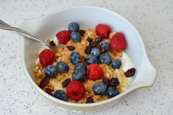 homemade plain yogurt with granola and fruit