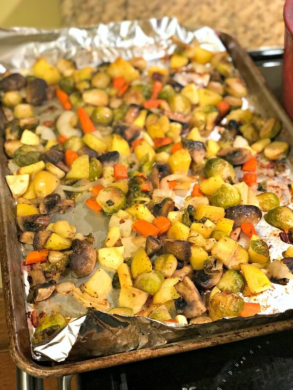 Roasted potatoes, parsnips, mushrooms, carrots, onions and brussels sprouts.