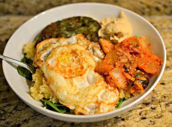 fried egg, veggie burger and kimchi bowl