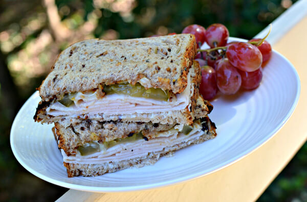 turkey sandwich with bread and butter pickles