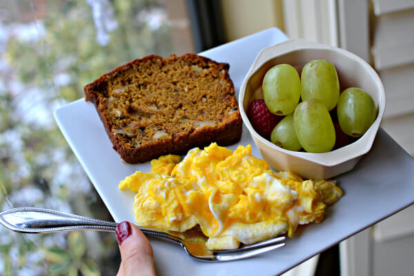 pumpkin apple bread, scrambled eggs and fruit