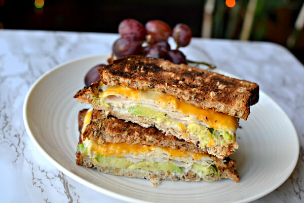 turkey sandwich with avocado and cheese