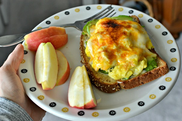 Open-faced egg and avocado sandwich