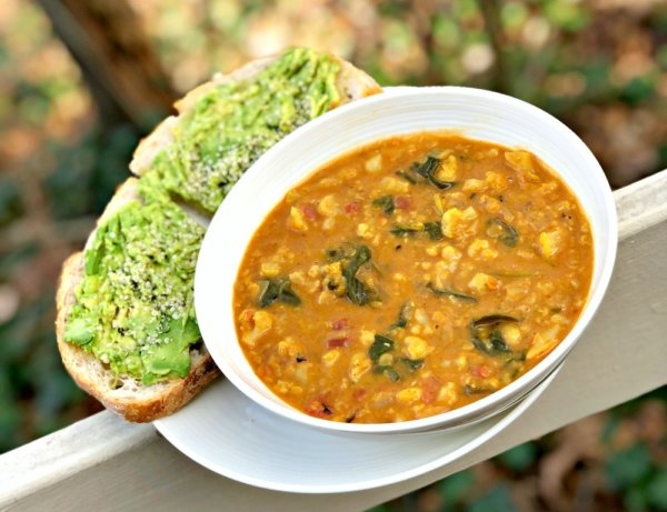 lentil, cauliflower and kale vegan power soup