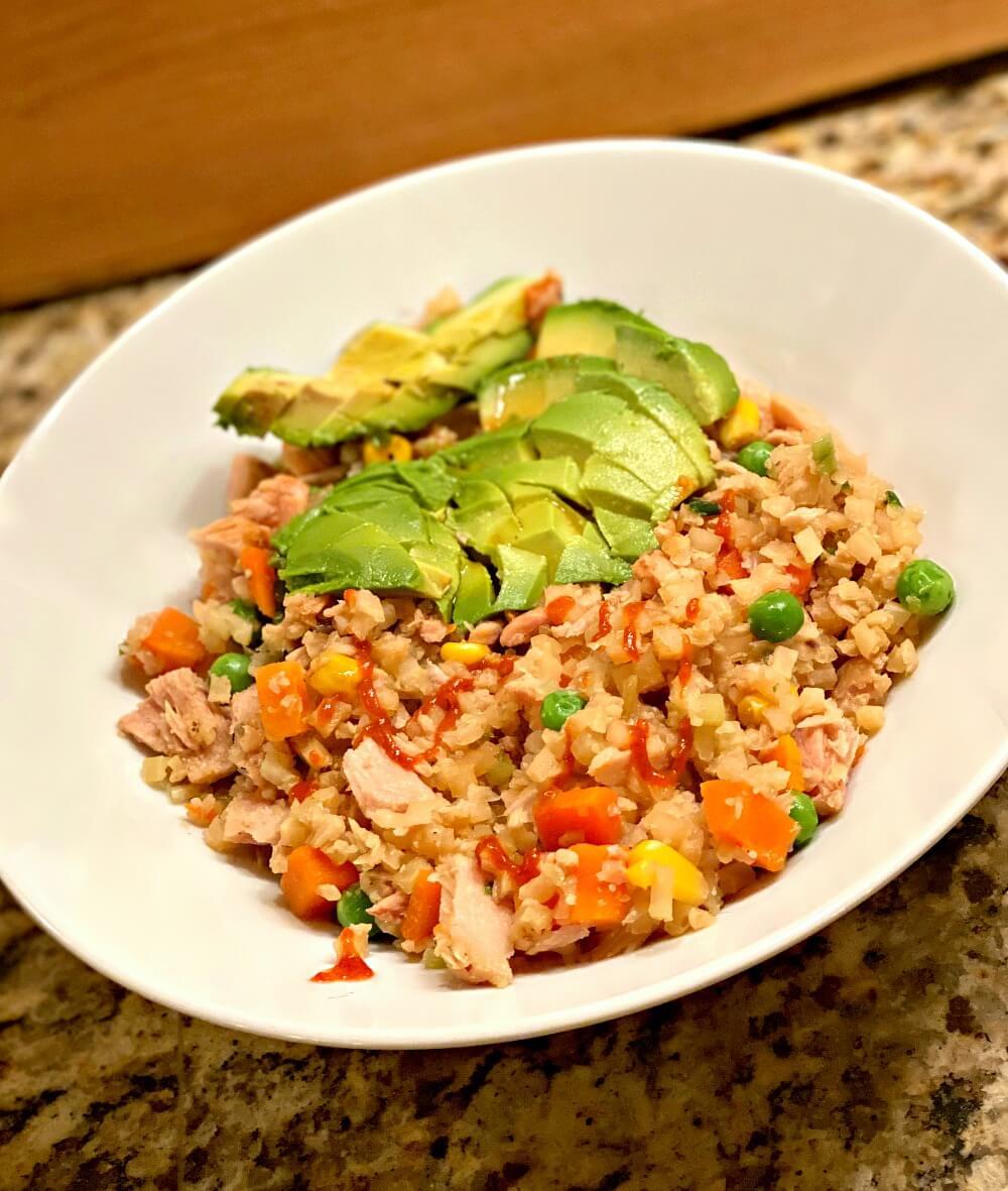 cauliflower rice fried rice with canned tuna