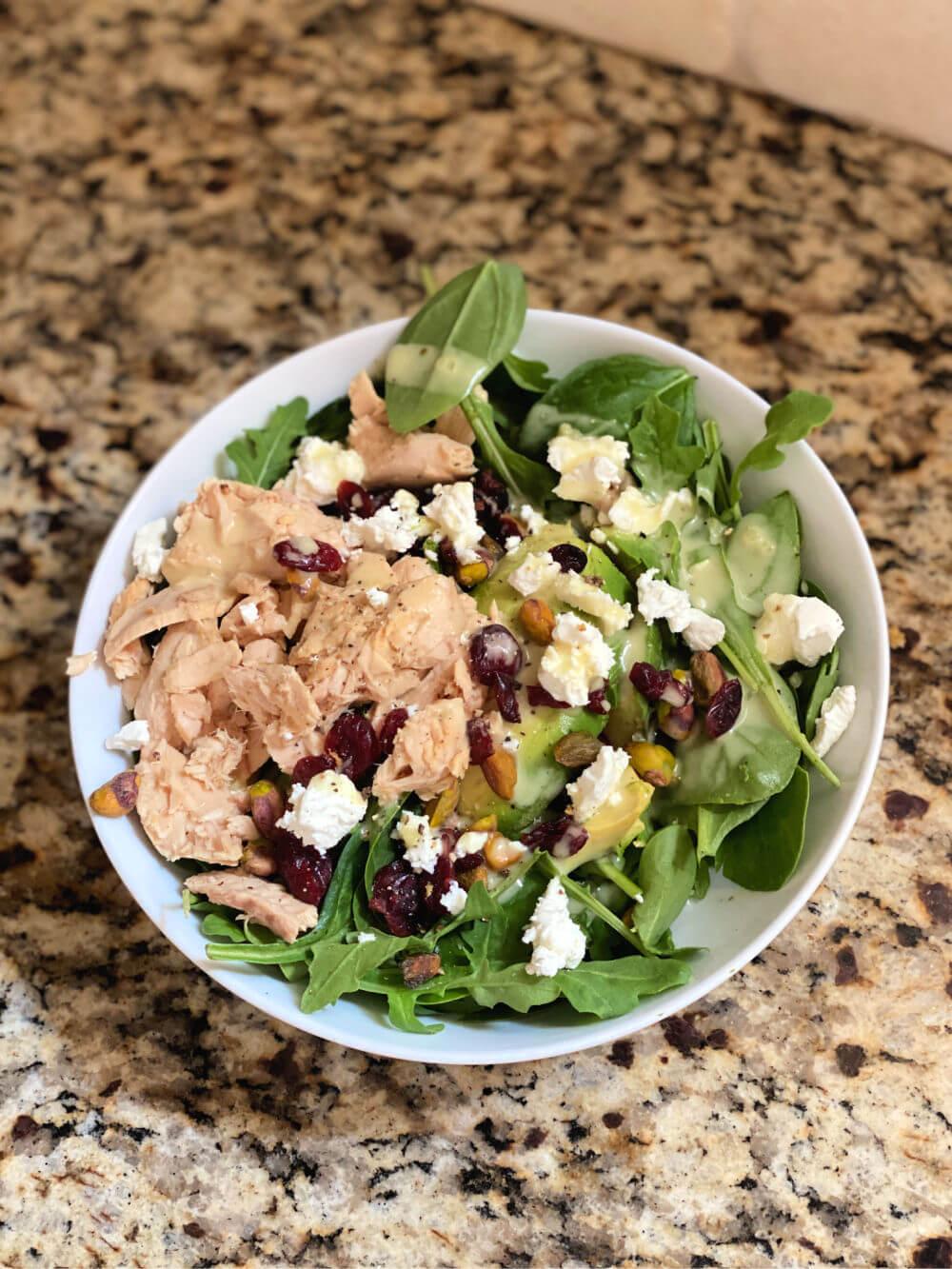 salad with blue harbor salmon