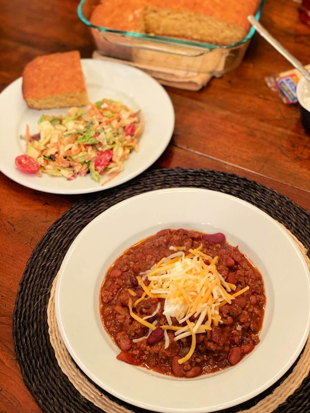 chili, chopped salad and cornbread