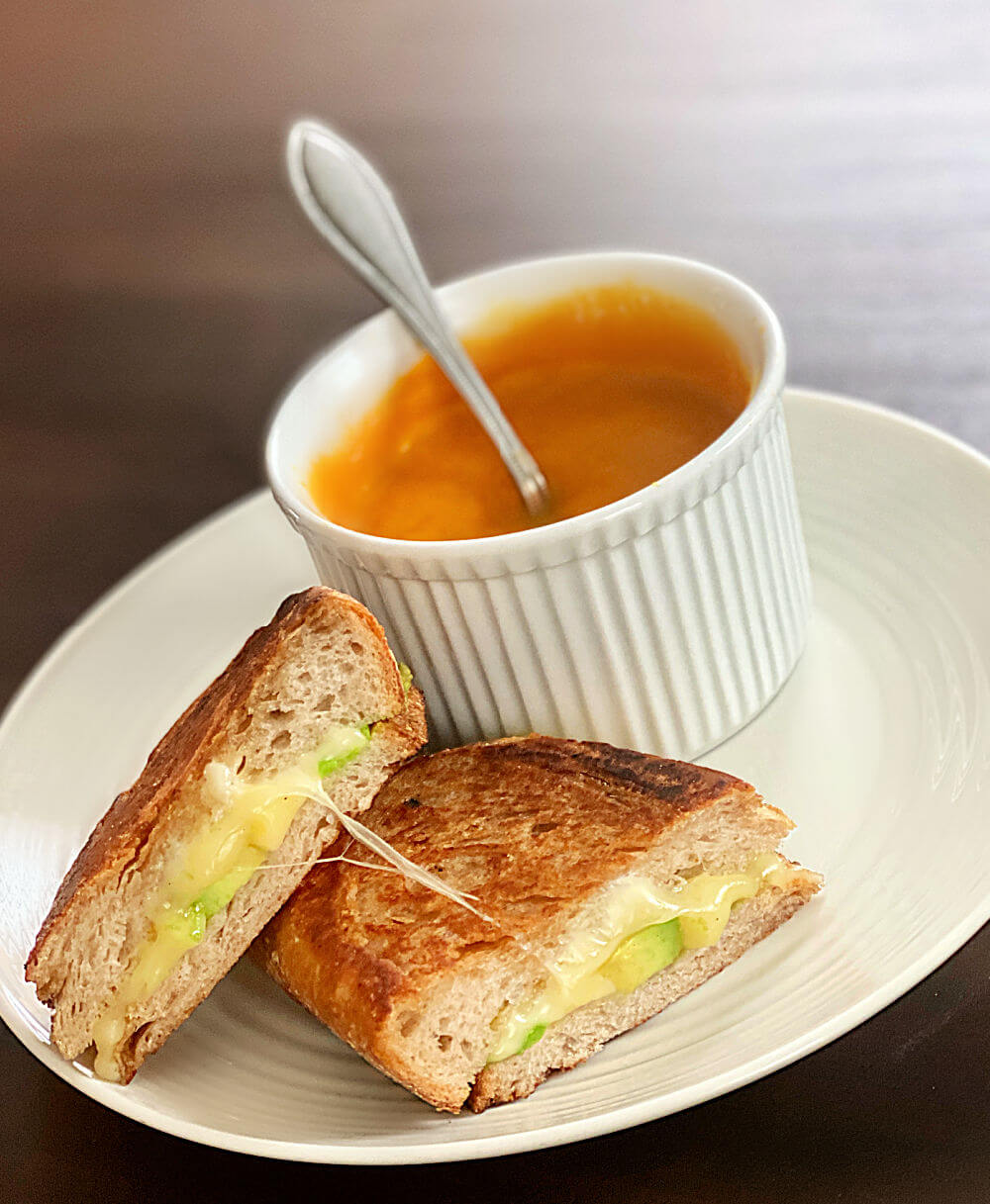 grilled cheese with avocado and homemade soup