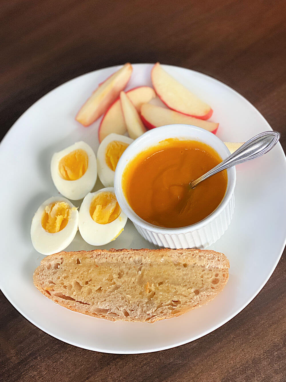 soup, hardboiled eggs and toast