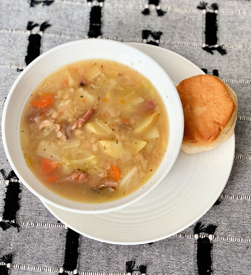 ham, cabbage and white bean soup