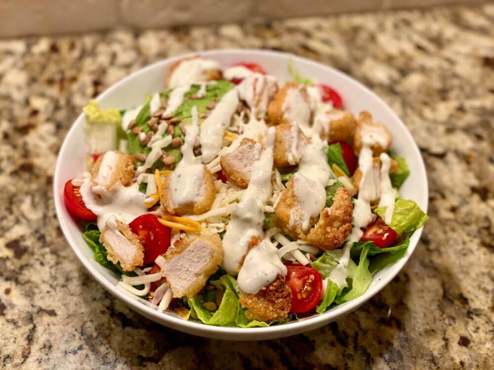avocado ranch chicken nugget salad