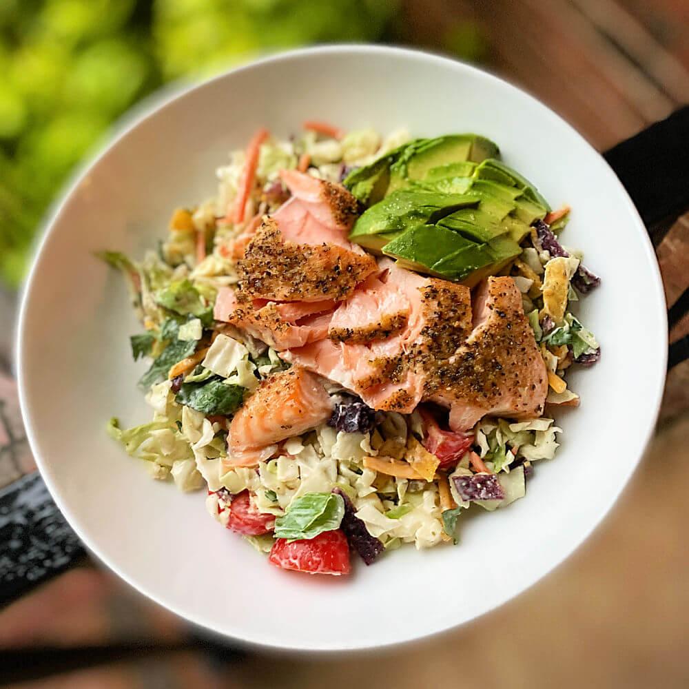 southwestern chopped salad with salmon