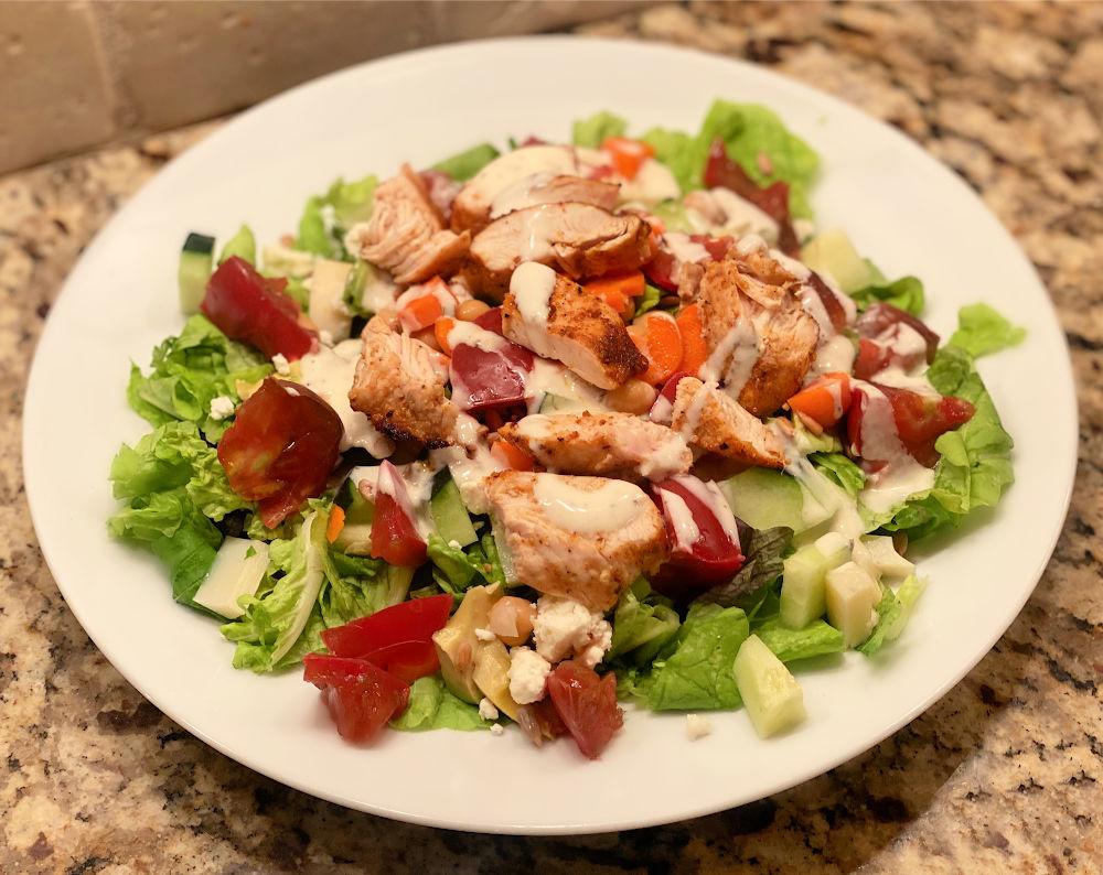 air fried chicken breast salad