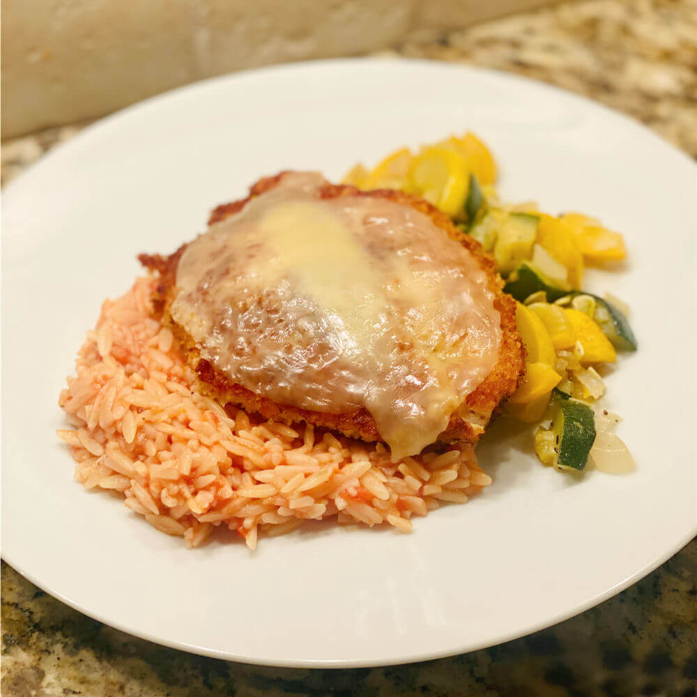 parmesan panko crusted chicken with orzo