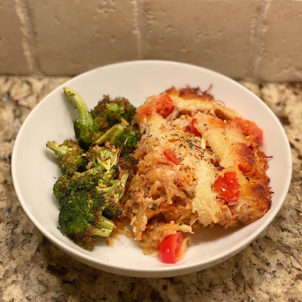 pizza-inspired spaghetti squash casserole
