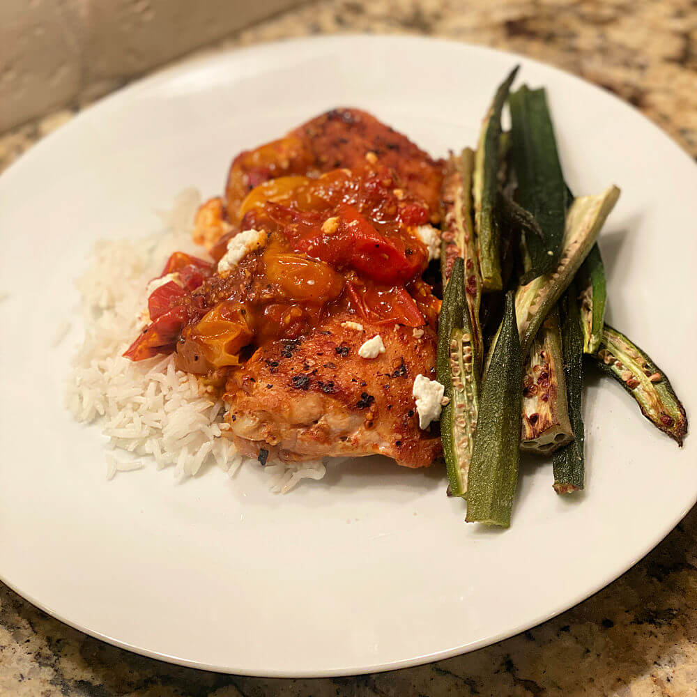 chicken thighs with tomatoes and goat cheese