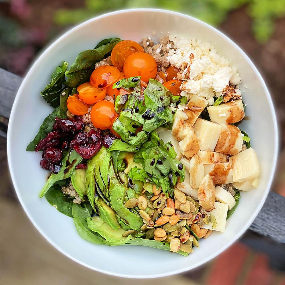 quinoa and lentil salad bowl
