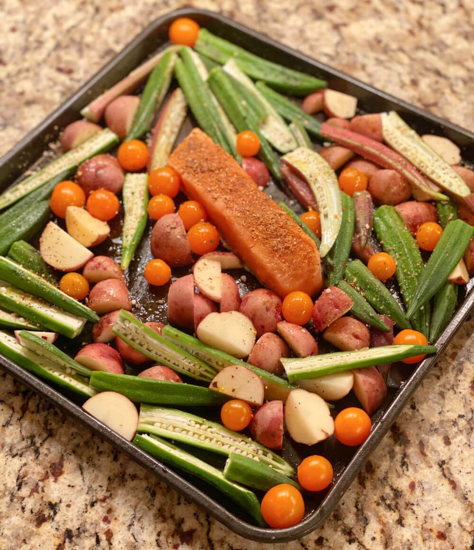 salmon, okra and potato sheet pan dinner