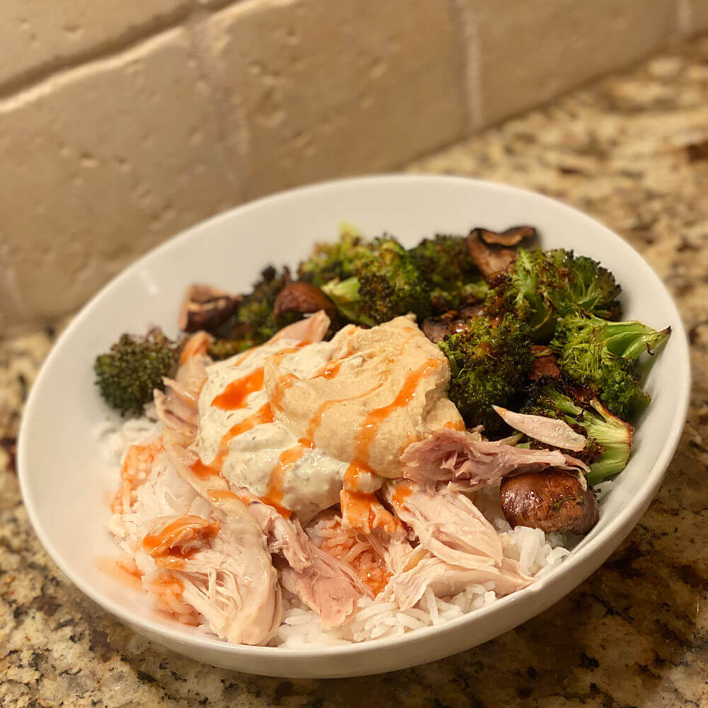 chicken, rice and roasted broccoli