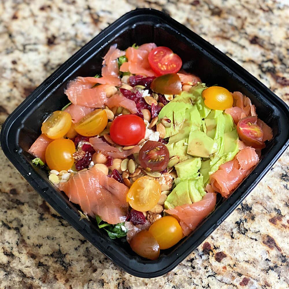 smoked salmon and grains salad