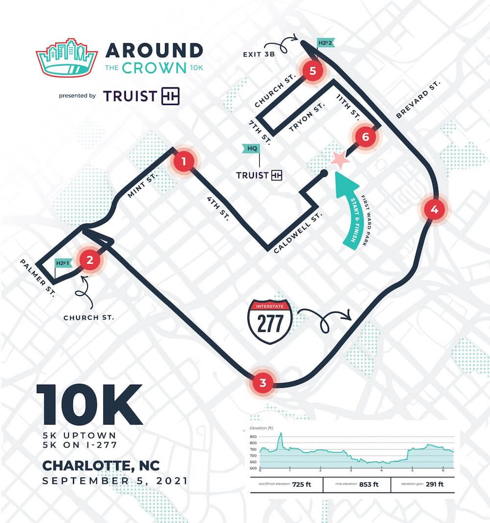around the crown 10K course map