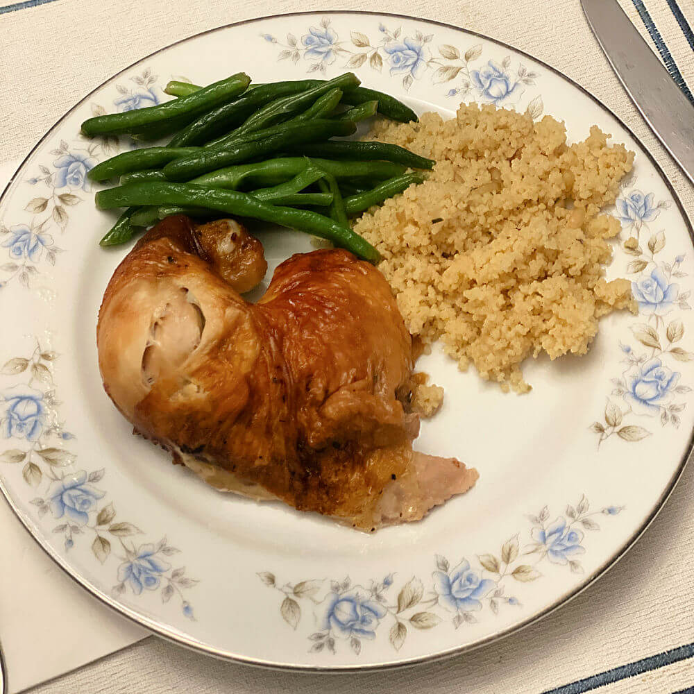 rotisserie chicken with green beans and couscous