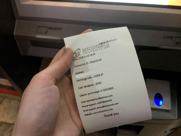 Bitcoin ATM Receipt