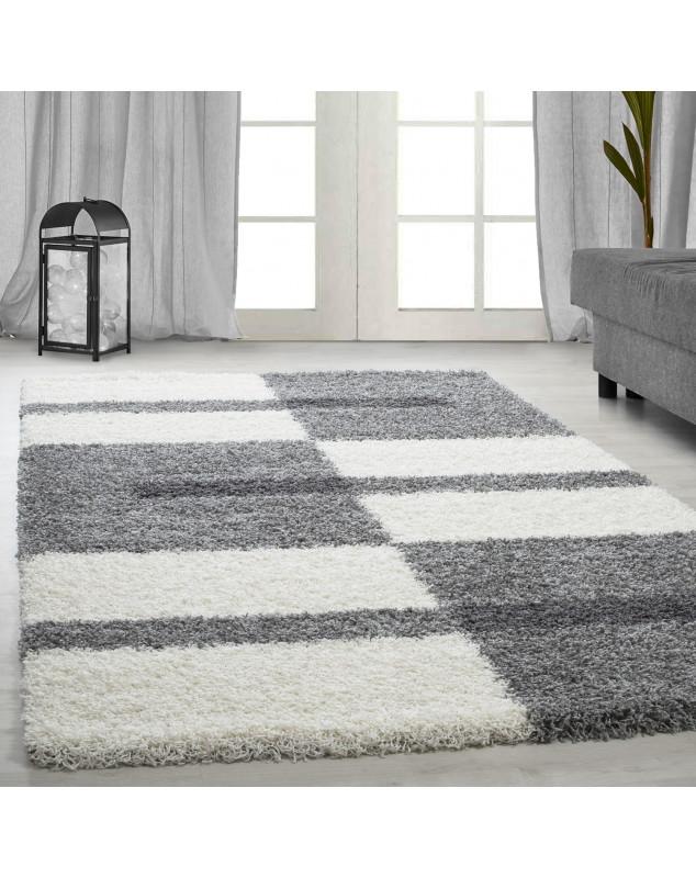 structure a fibres longues salon shaggy tapis de parement 3cm gris blanc gris clair taille 60x110 cm