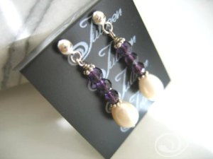 Tammy Amethyst and Pearl Earrings