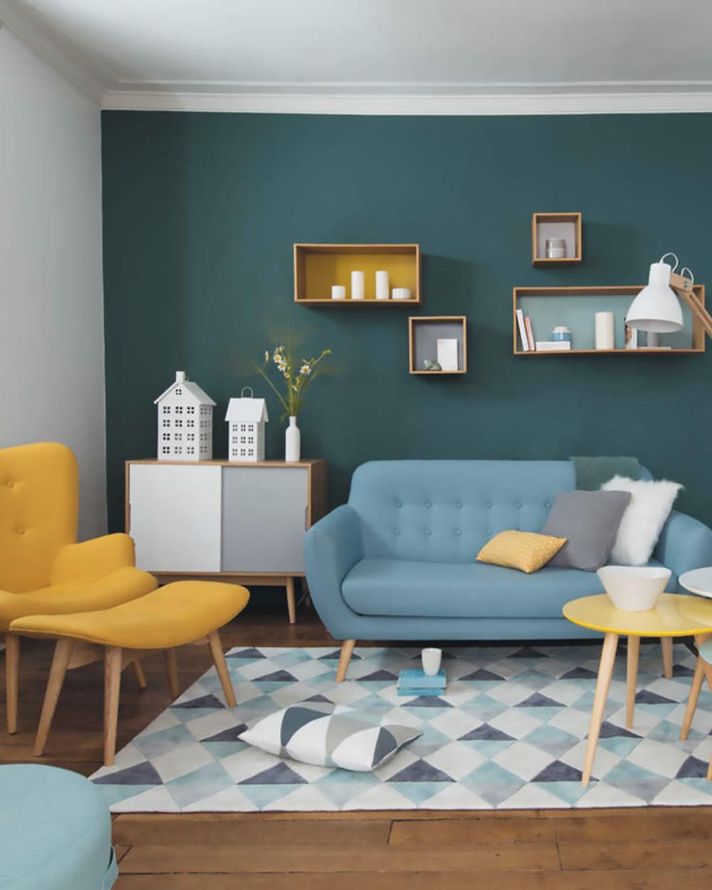Peinture Salon Bleu Turquoise Et Gris | Kapokto