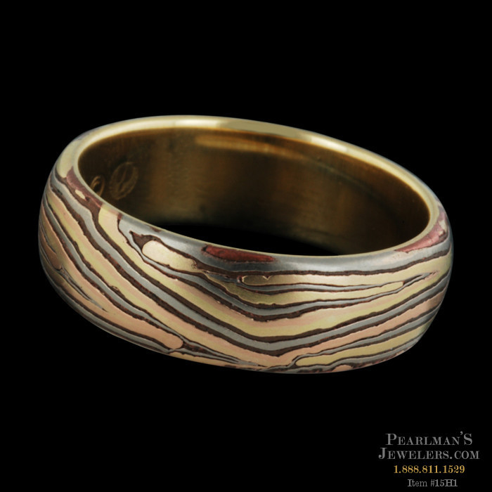 George Sawyer Jewelry E Mokume Unisex Wedding Band