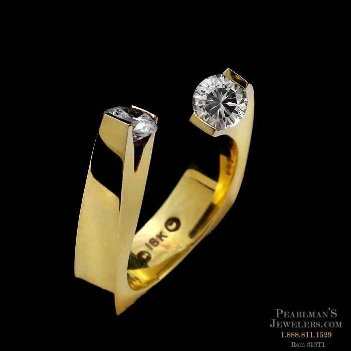 Eddie Sakamoto Jewelry 18kt Yellow Gold Two Diamond Ring