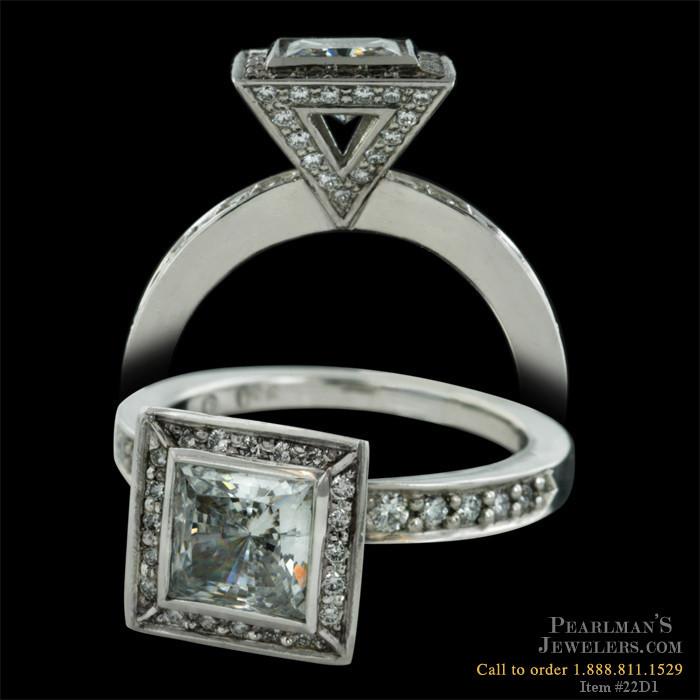 Chris Correia Jewelry Platinum Diamond Ring For Square Center