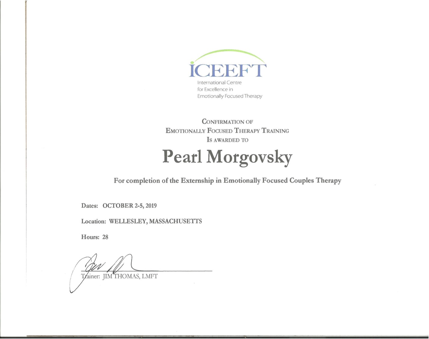 CoC ICEEFT International Centre for Excellence in Emotionally Focused Therapy