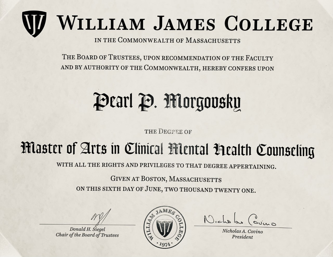 CoC William James College : Master of Arts in Clinical Mental Health Counseling