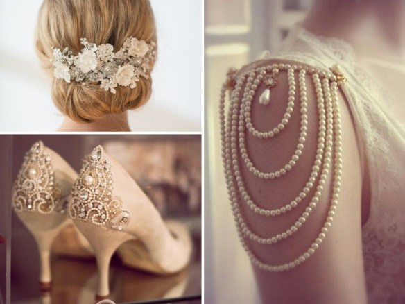 Pearl wedding clothing and jewellery